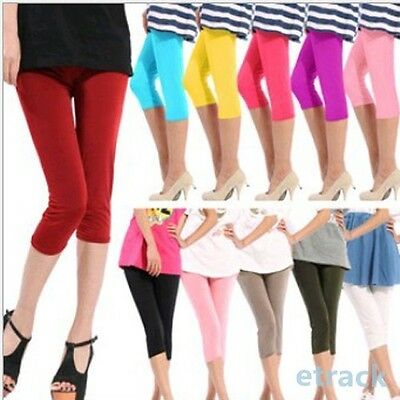 Women Cropped Summer Cotton Leggings 3/4 Length All Size Yoga Solid Stretch Pant
