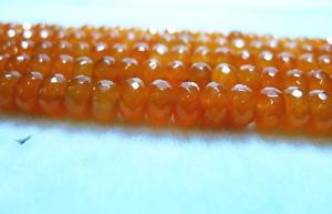 Natural 5x8mm Faceted Orange Jade Gemstone Abacus Loose Bead 15/'/' AAA