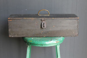 Details About Antique Wooden Toolbox Vintage Long Black Wood Carpenters Tool Box Rustic Prop