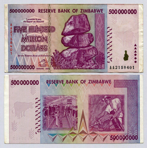 ZIMBABWE 500 MILLION DOLLARS 2008 circulated VF. 10 20 50 100 TRILLION