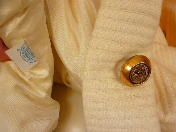 Vintage 60 70s Midi Maxi Coat Winter White Wool S… - image 5
