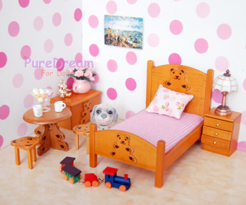 1//12 Dollhouse Miniature Furniture Bedroom Set 6PCS Children Lovely Bear WB014