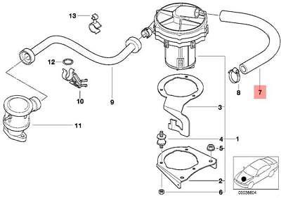Genuine BMW E36 Z3 Cabrio Emission Control Air Pump Hose OEM 11721405401