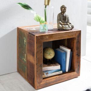 Beistelltisch Recycling Holz Wohnzimmer Tisch Nachttisch Regal