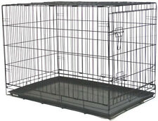 "NEW 48"" Extra Large Folding Pet Dog Cage Crate Kennel With Plastic Pan Black-359"