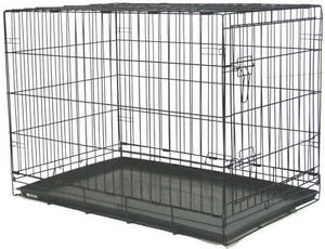 "NEW 48"" Extra Large Folding Pet Dog Cage Crate Kennel With Plastic Pan Black-222"