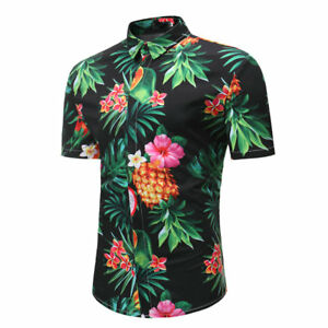 b76f8d59ae5d Men s Floral Button Down Hawaiian Short Sleeve Beach Casual Tropical ...