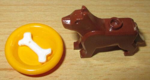 1x Hund mit Teller u Figur Zubehör Lego City Tier Knochen