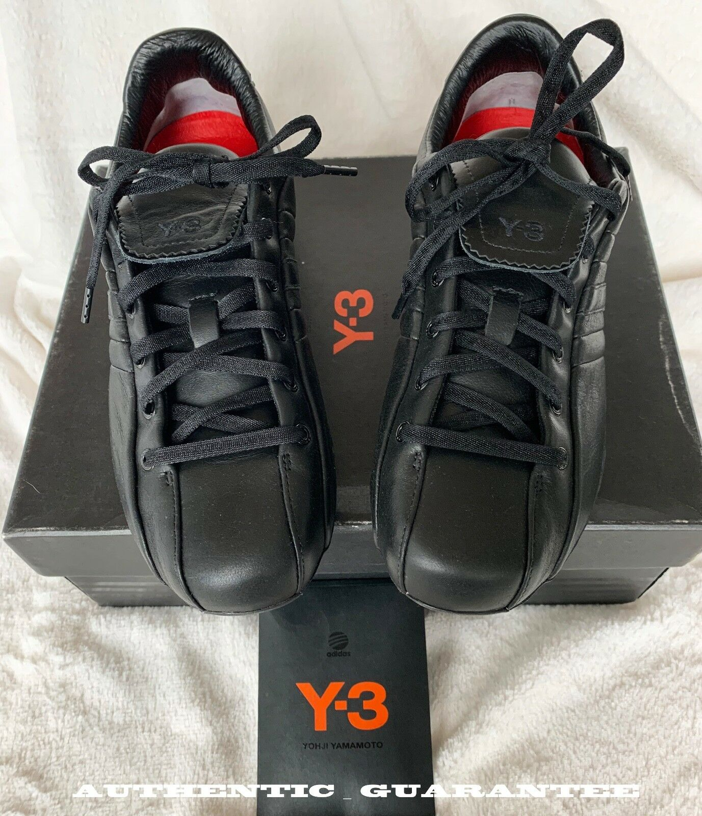 AUTHENTIC Y-3 ADIDAS X YOHJI YAMAMOTO Black Leather SNEAKERS Sz 5.5 NEW in BOX
