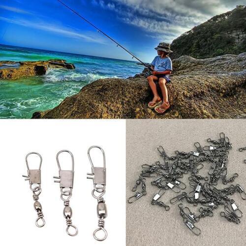 100PCS Fishing Snap Pin Connector Barrel Swivel Solid Rings Hooks Fastlock G