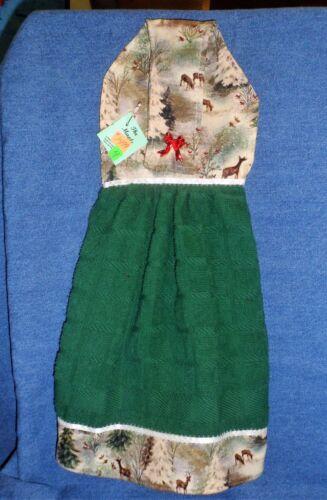 **NEW** Handmade Glittering North Woods Green Hanging Kitchen Hand Towel #1499