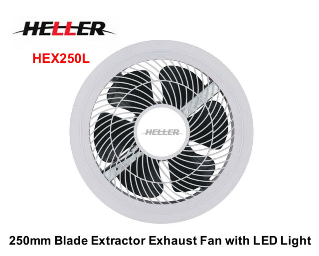 Heller Hex250l 250mm Ball Bearing Exhaust Extractor Fan With Light White For Sale Online Ebay