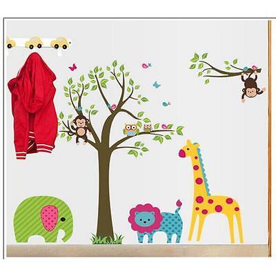Monkey Lion Giraffe Animals Tree Vinyl Wall Decal Stickers Kids Room Home Decor