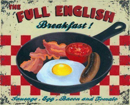 Neuheit Café Küche Pub Vintage Essen Alt Englisches Frühstück