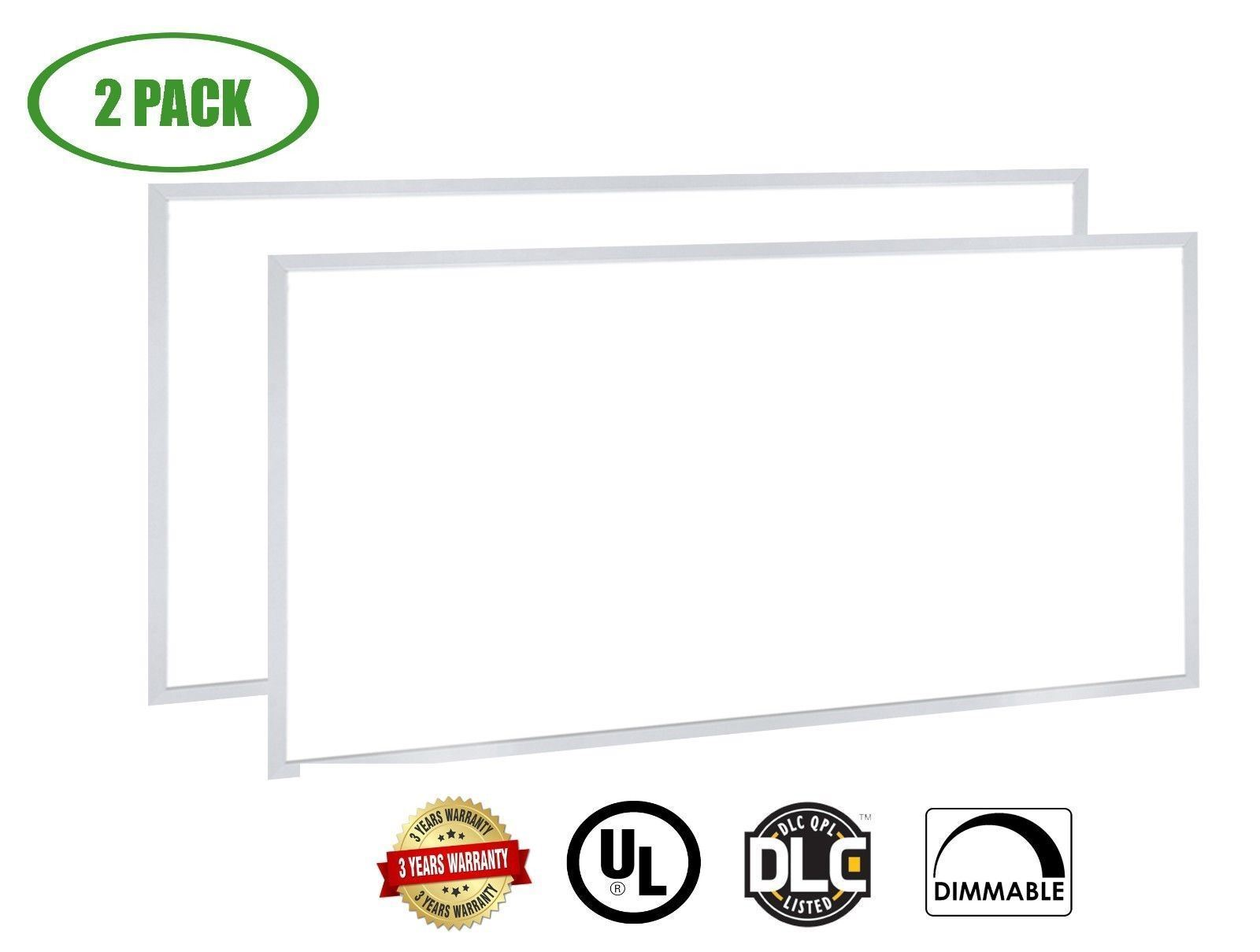 Panel De Luz LED Súper Brillante & delgada por Canopus 2x4ft 50W 3500K Regulable [2 Pack]