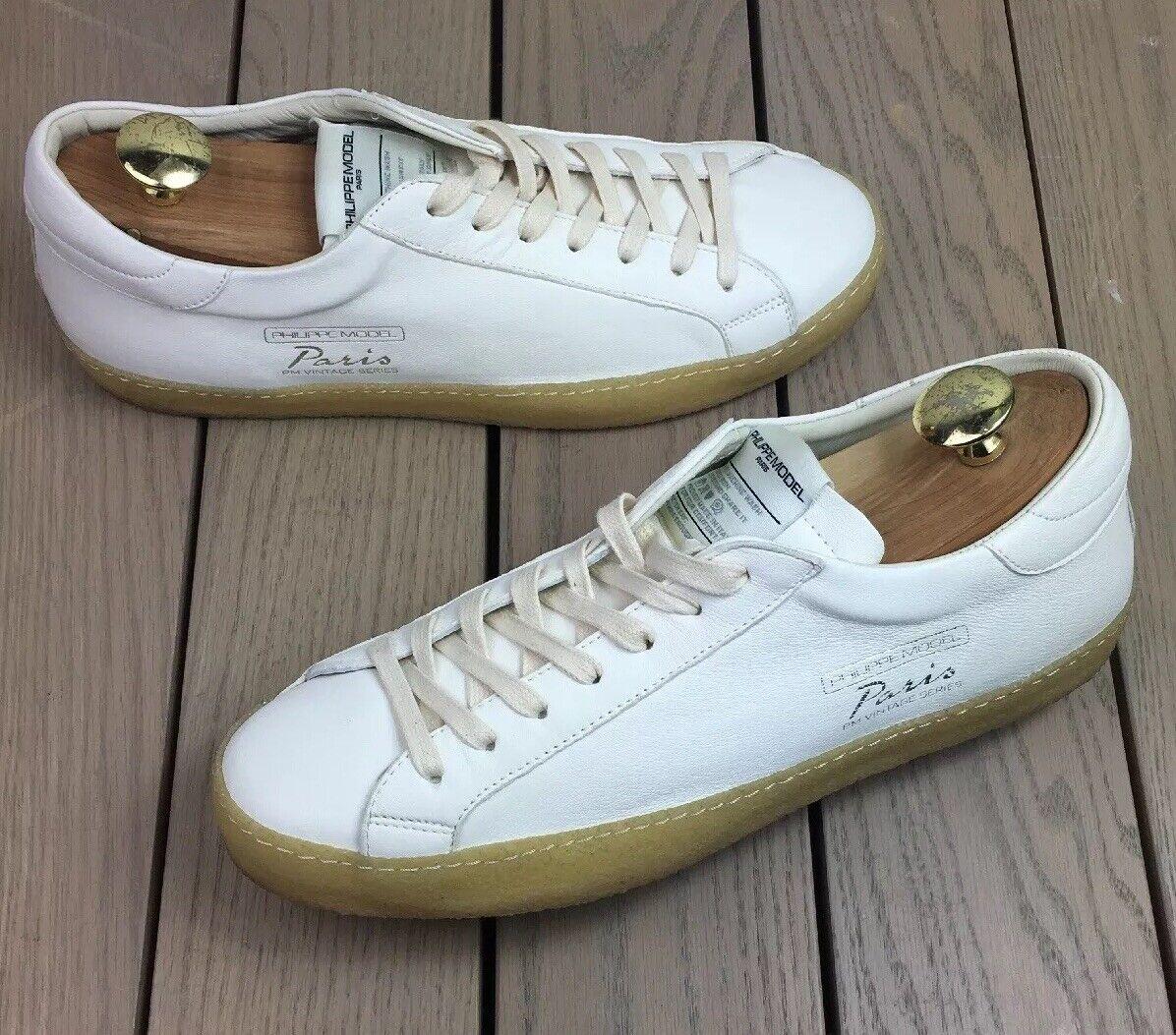PHILIPPE MODEL uomo scarpe LOW TOP LEATHER TRAINERS scarpe da ginnastica PARIS bianca Sz 44