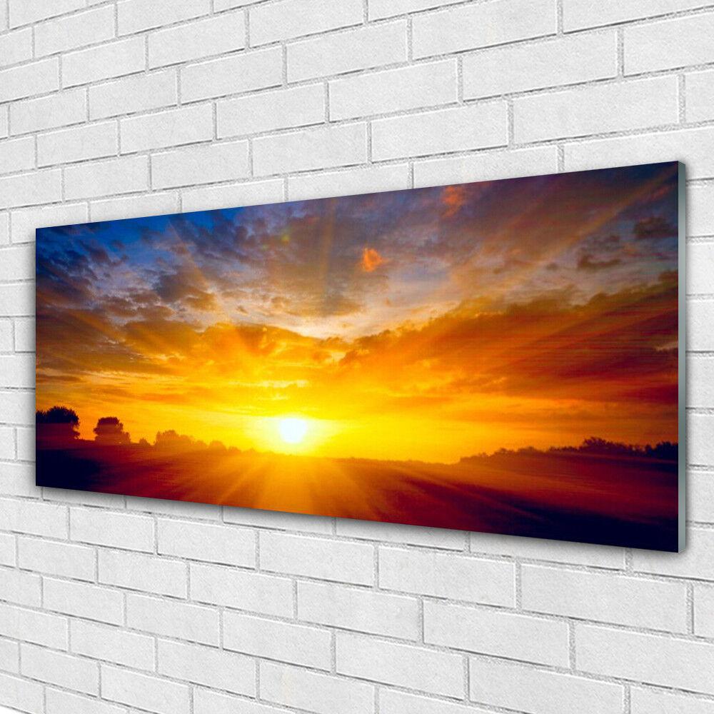 Impression sur verre Wall Art 125x50 Photo Image Soleil Paysage