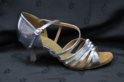 Señoras plata salón de baile latino Zapatos Sylvia
