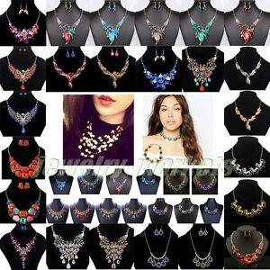 Fashion-Women-Crystal-Necklace-Bib-Choker-Chunky-Statement-Pendant-Chain-Jewelry