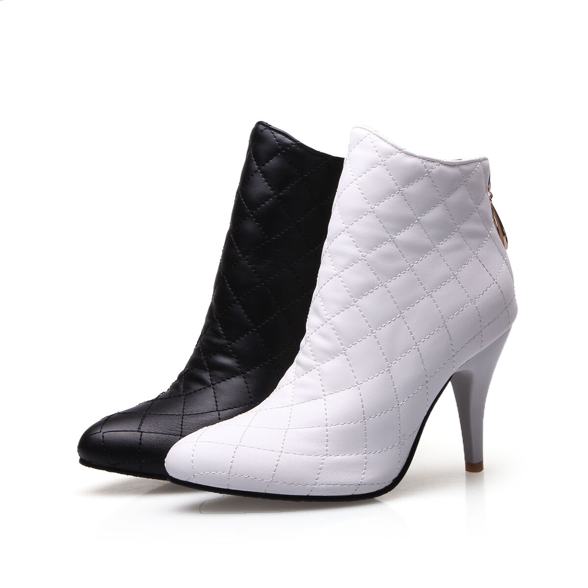 Women's shoes Synthetic Leather High Heels Pumps Zip Up Ankle Boots US Size b120