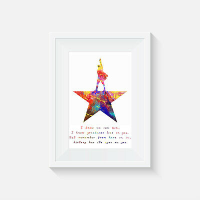 Hamilton Musical poster print wall art decor merchandise gift watercolour