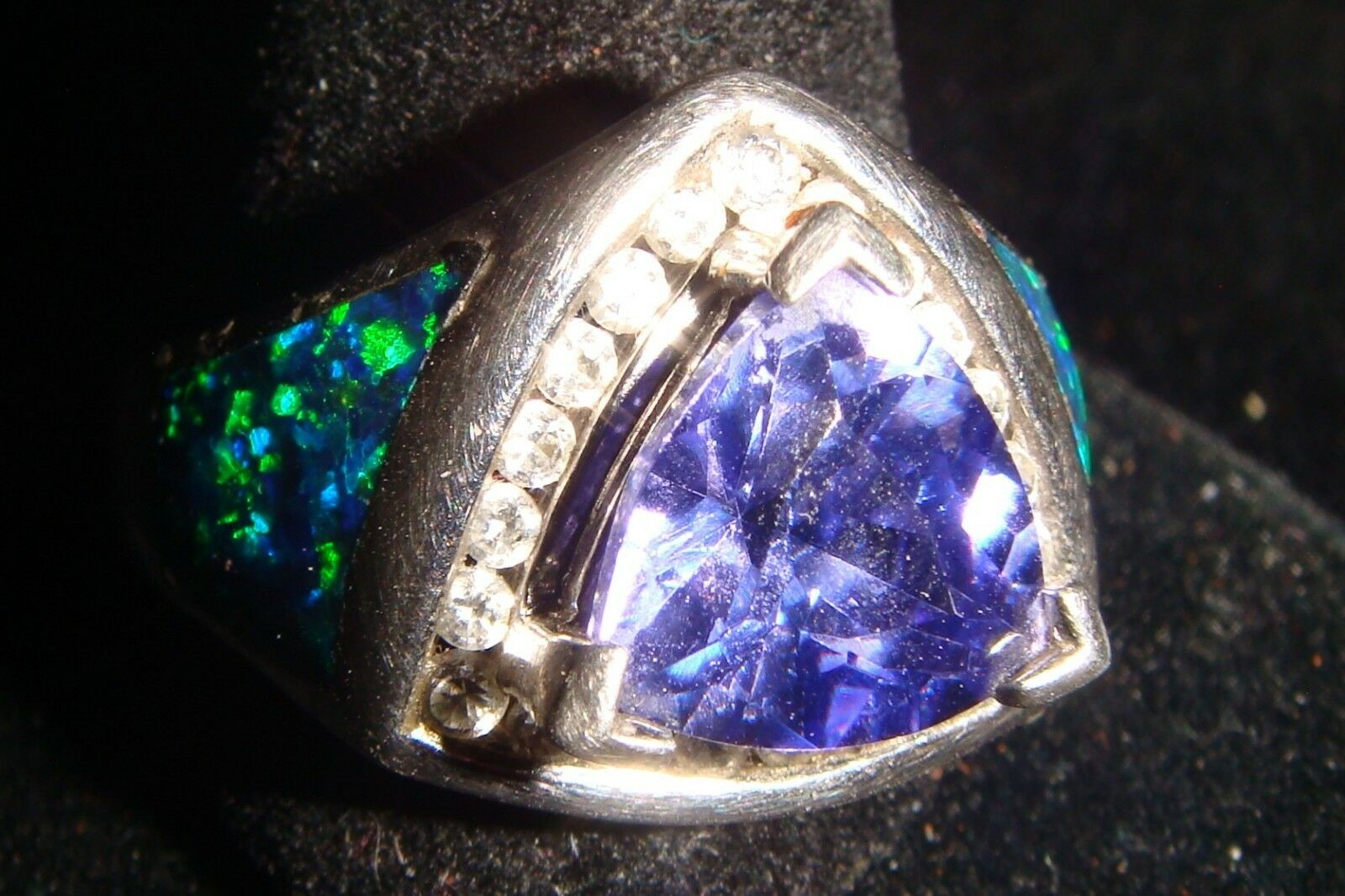 Ladies SS ring, Size 7.5 Set with Lab Created Tanzanite, CZ's & inlaid opal