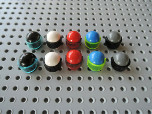 Lego 10 x Helm Motorradhelm 2446 Visier 2447 schwarz weiß rot blau dunkelgrau