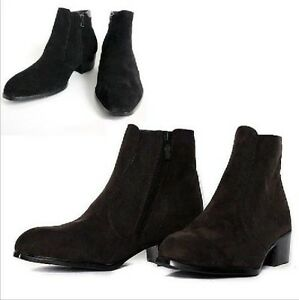 Mens Casual Suede Side Zip Pointed Ankle Boots High Top Dress