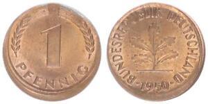 BRD 1 Pfennig 1950 g Fehlprägung: 15% dezentriert prfr. 63989