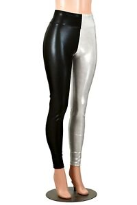 0a3904bf85dd0 Image is loading Shiny-Black-Silver-White-Metallic-Leggings-XS-S-M-L-