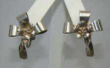 Vintage Sterling Silver Flower Bow Screw On Earrings - 7.62 Grams - # M583