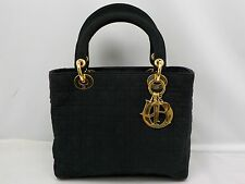 Authentic Christian Dior Lady Dior Hand Bag Nylon Black 6F210380s