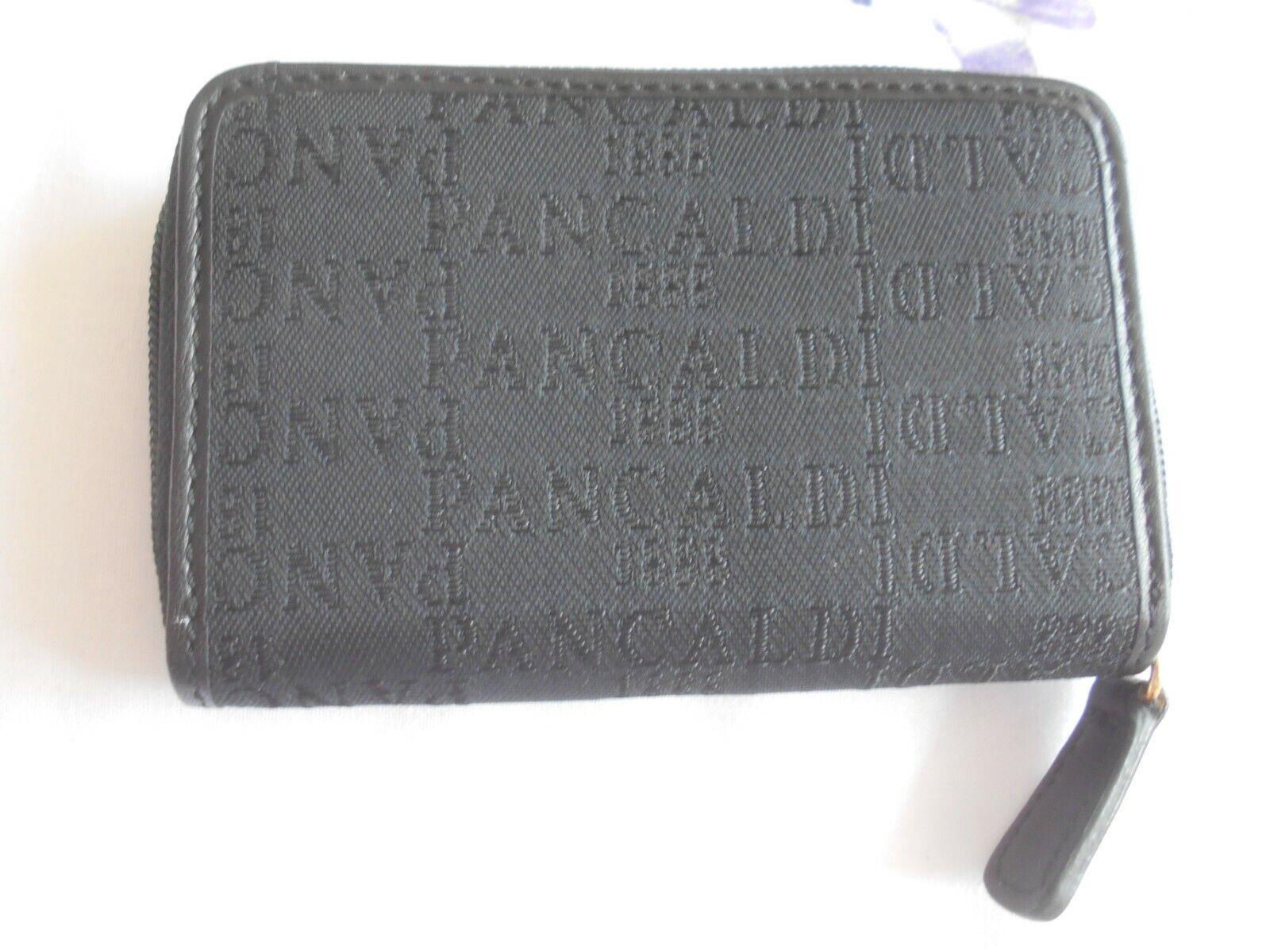 """PANCALDI"" ITALIAN DESIGNER BLACK LEATHER TRIMMED COIN PURSE VGC!!!"