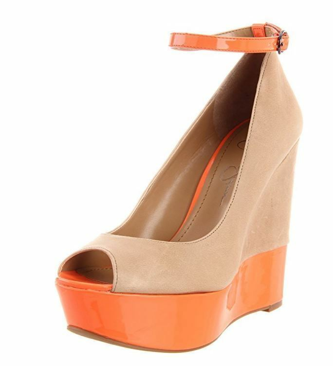 Jessica Simpson Wouomo Carrack Wedge Sandal,Camel-Neo arancia Patent,6.5 M US