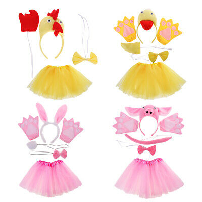 Girls Animal Costume Set Ears Tail Bow Tie Glove Skirt Cosplay Party Fancy Dress