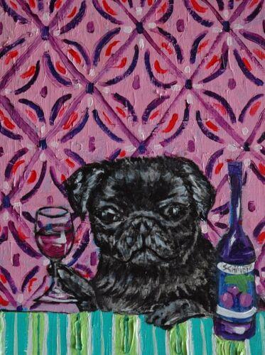 black PUG at the wine bar  dog art print 11x17 glossy