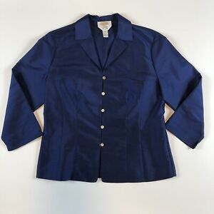 Talbots-Womens-Blue-Silk-Button-Down-Dressy-3-4-Split-Sleeve-Blouse-Top-Size-8