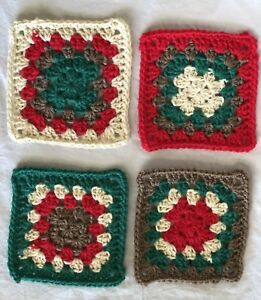 Handmade Crochet Christmas Coasters Squares Holiday New Set Of 4 Ebay