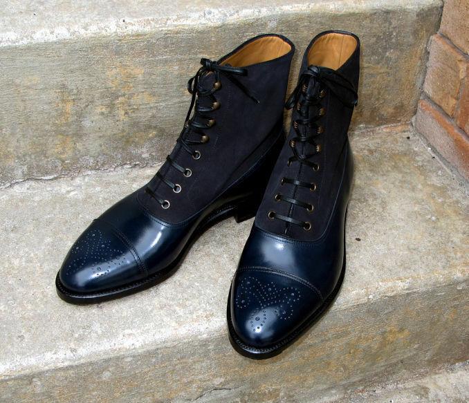 botas para hombre Hecho a Mano Azul Marino Negro Cuero Suede & Dos Tonos De Tobillo Zapatos Ropa Formal
