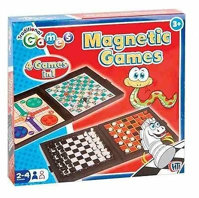 TRADITIONAL GAMES 4 IN 1 / MAGNETIC TRAVEL GAMES / Ludo, Chess, Snakes, Draughts