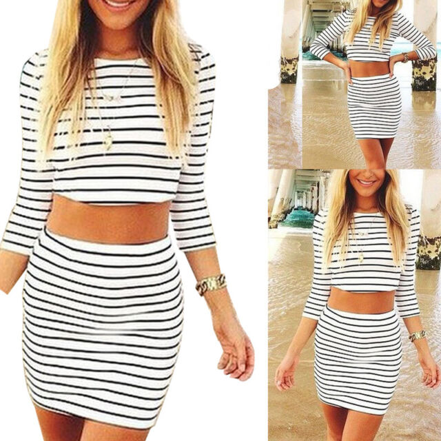 Womens Crop Top and Skirt Set Sexy 3/4 Sleeve Two-piece Bodycon Short Dress XX