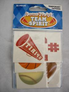 Details about 30 Team Spirit Temporary Tattoos Baseball Cheerleading  Football Sport Basketball