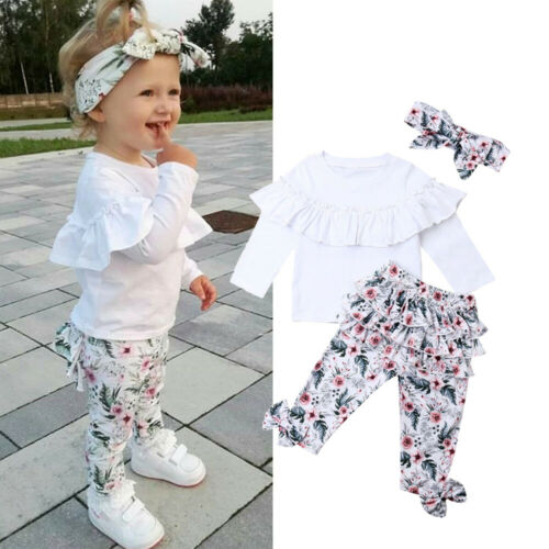 UK Toddler Baby Girls Winter Clothes Ruffle Tops Floral Pants 3Pcs Outfits Set