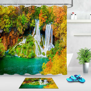 Sunny Waterfall Scenery Shower Curtain Set Bathroom Mat Waterpoof Fabric /& Hooks