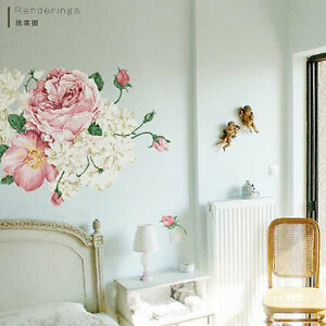 Image Is Loading Large Peony Flowers Vinyl Wall Stickers Art Decals