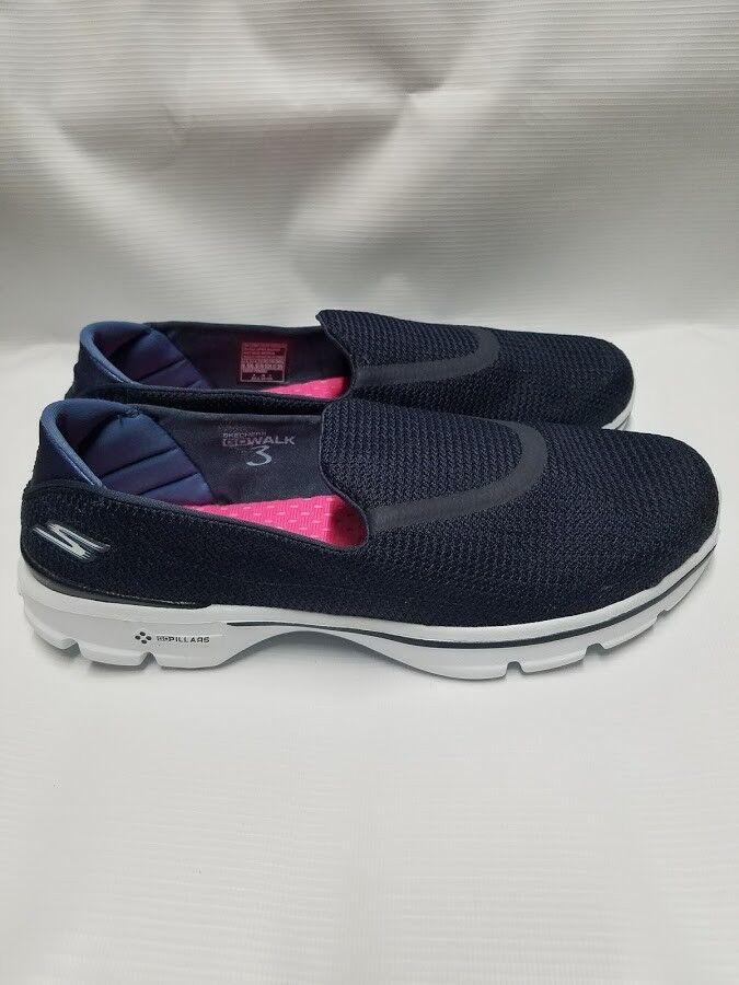 Skechers Slip-On GOwalk 3 Navy Slip-On Skechers Comfort Walking Sneaker Woman Größe 9.5 NEW 89b093