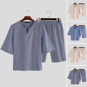 Men-039-s-Short-Sleeve-Sleepwear-Nightwear-Comfy-Loose-Pajamas-Sets-Robe-Loungewear