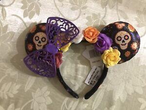 Disney Parks Halloween 2019 Dia de Los Muertos Coco Minnie Ears Headband NWT