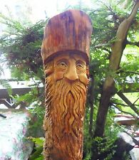 WOOD SPIRIT CARVING GNOME WIZARD FOLK ART PINE KNOT ELF FOREST OOAK BY GARY