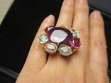 EXTRA LARGE H STERN Diane Von Furstenberg HARMONY 18K RUBY DIAMOND RING HEAVY!